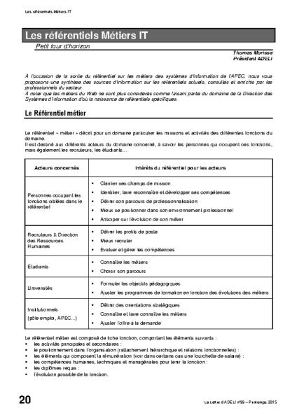 l99p20-Les référentiels Métiers IT