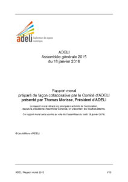 ADELI- Rapport Moral 2015