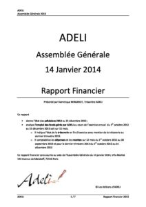 ADELI Rapport financier 2013 2