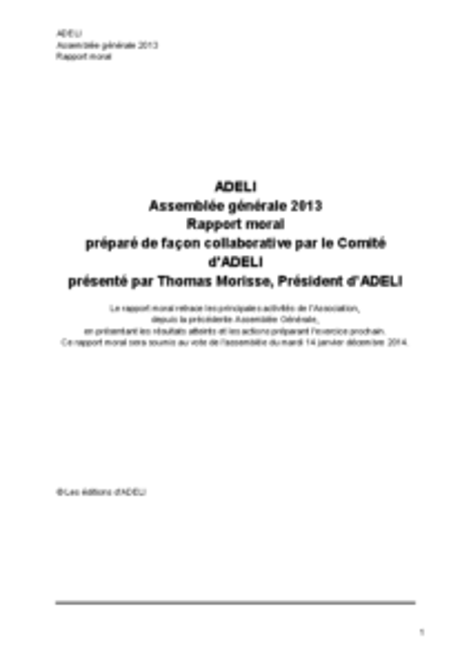 ADELI Rapport moral 2013
