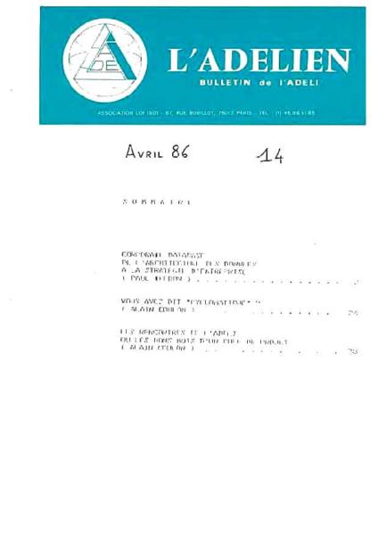 Adelien N°14 Avril 1986