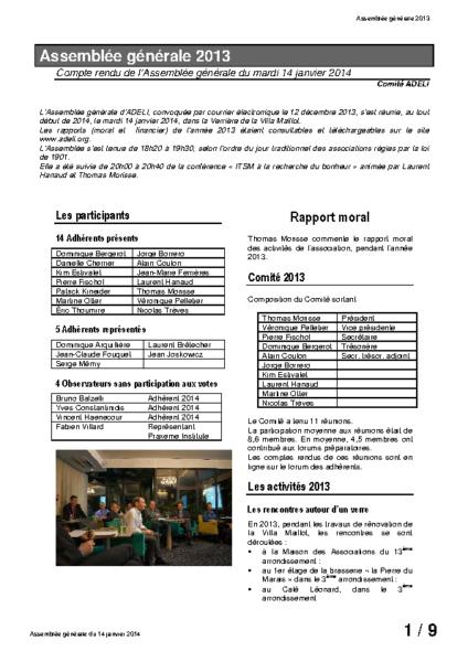 Compte rendu Assemblée générale 2013