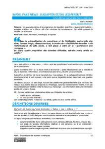 L114p15-Info, fake news: s'adapter et/ou légiférer 1