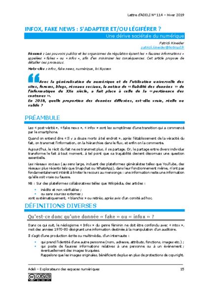 L114p15-Info, fake news: s'adapter et/ou légiférer