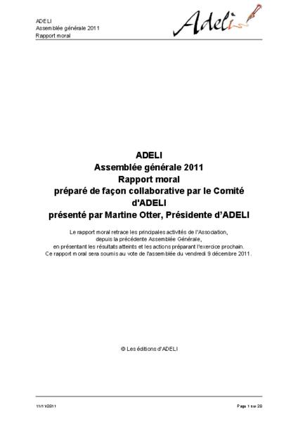 Rapport moral 2011