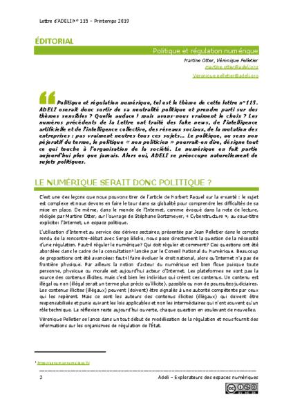 L115p02- Éditorial -Politique et régulation numérique