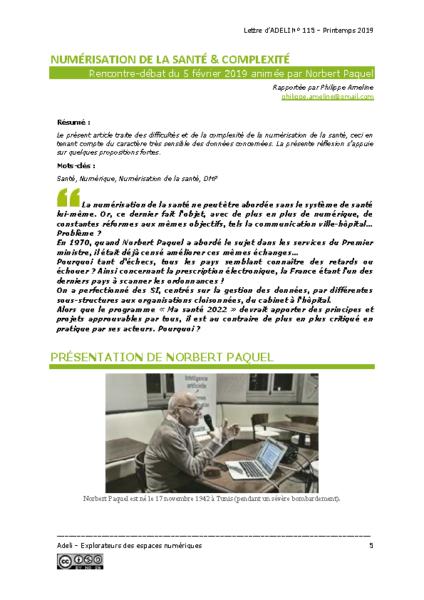 L115p05 – Numérisation de la santé & complexité