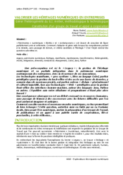 L115p48 – Valoriser les héritages numériques en entreprises