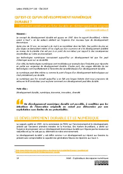 L116p14 – Qu'est-ce qu'un développement numérique durable ?