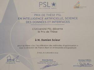 Prix de thèse remis à M. Damien Scieur