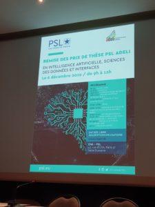 Remise du prix de thèse PSL/ADELI, le 6 décembre 2019, à l'ENS 2