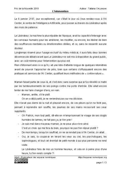 L'intervention – Tatiana Orlandini