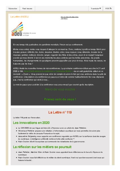Lettre d'ADELI n°119 – Nouvelles technologies