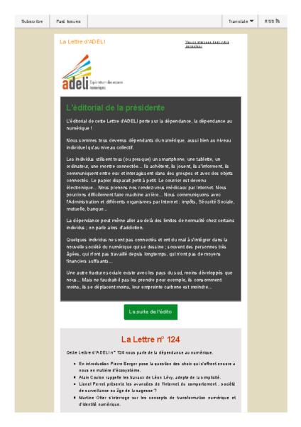 Lettre d'ADELI n°124 – Dépendance numérique